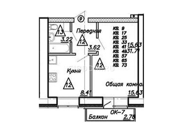 1-комнатная 31.71 кв.м