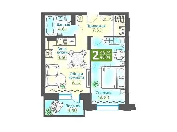 Планировка 2-комн 48,77 - 48,94 м²