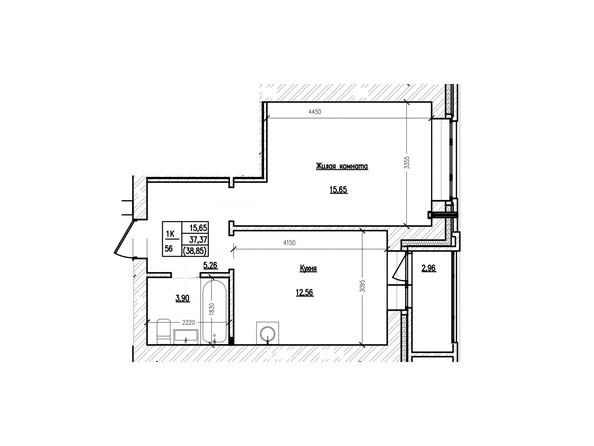 Планировка 1-комн 38,63, 38,85 м²