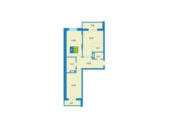 Планировка 3-комнатной квартиры 73,72 кв.м