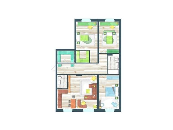 Планировки Жилой комплекс ПРЕОБРАЖЕНСКИЙ, дом 22, этап 2 - Планировка четырехкомнатной квартиры 123,9 кв.м