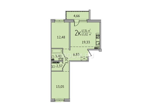 2-комнатная 65,54 кв.м