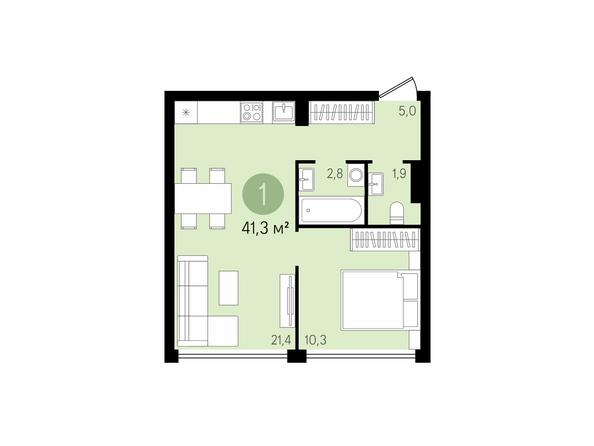 1-комнатная 41,3 кв.м