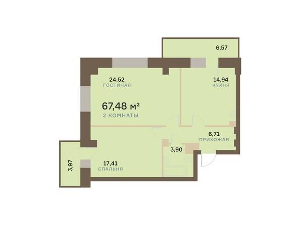 Планировки Жилой комплекс БОГРАДА 109, дом 1 - Планировка двухкомнатной квартиры 67,48 кв.м