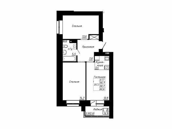 Планировка 3-комн 58,7, 60,6 м²