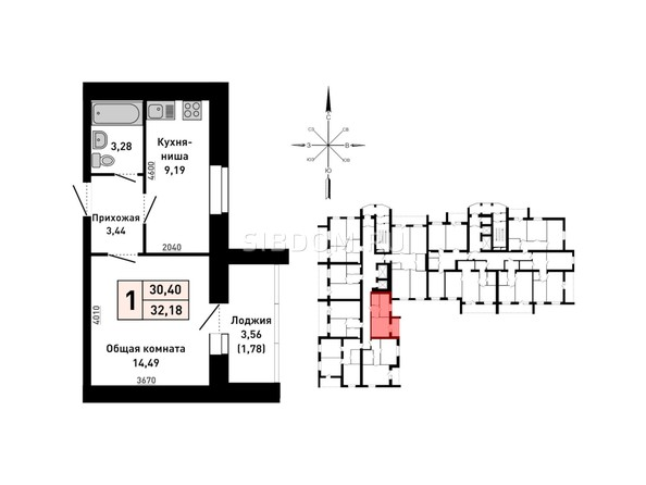 Планировка 1-комн 32,18 м²