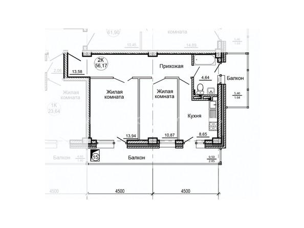 Планировки ГЛОБУС, дом 8 - Планировка двухкомнатной квартиры 56,17 кв.м