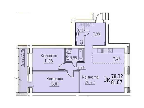 Планировка 3-комн 78,32, 81,07 м²