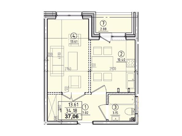 Планировки Жилой комплекс КОРИЦА, дом 1 - 1-комнатная 37,06 кв.м