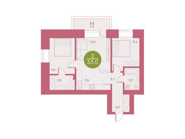 Планировки Жилой комплекс Арбан SMART (Смарт) на Шахтеров, д 2 - Планировка трехкомнатной квартиры 55 кв.м