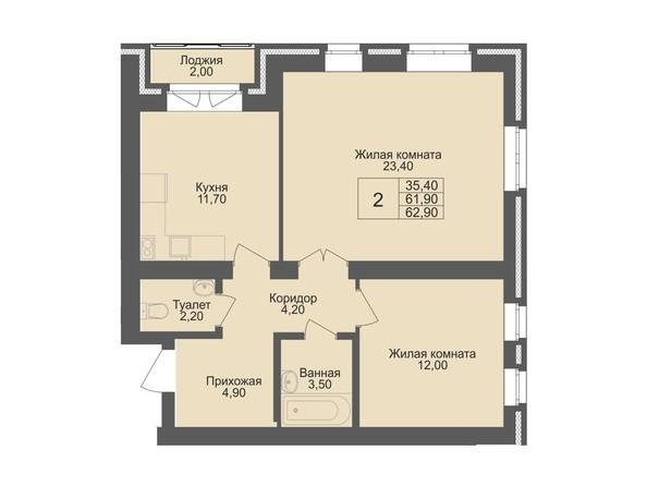 Планировка 2-комн 61,9 м²