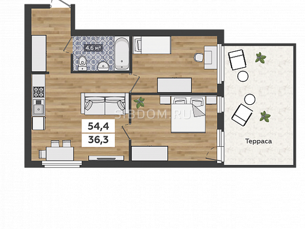3-комнатная на 1 этаже с террасой