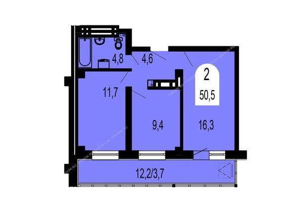 Планировки Жилой комплекс ТИХИЕ ЗОРИ, дом 1 (Красстрой) - Планировка двухкомнатной квартиры 50,5 кв.м