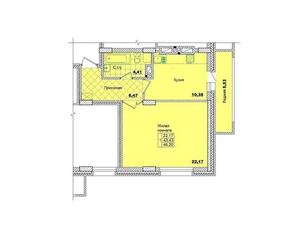 Планировки Жилой комплекс НА КОРОЛЁВА, 2 оч, дом 1 - Планировка однокомнатной квартиры 46,2 кв.м.