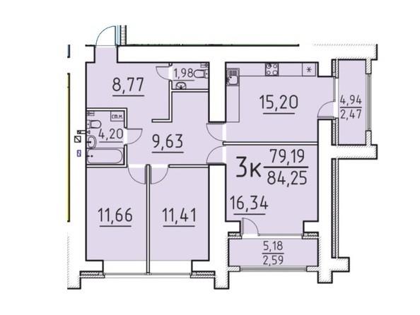 Планировка 3-комн 79,19, 84,25 м²