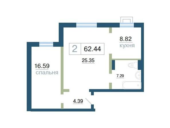 Планировка 2-комн 62,44 м²