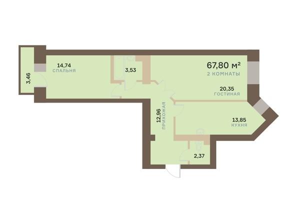 Планировка 2-комн 67,8, 68,44 м²