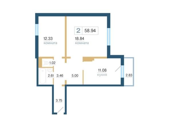 Планировка 2-комн 58,94 м²