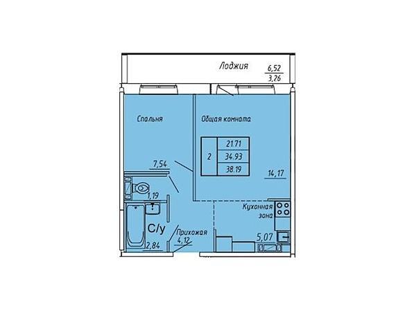 Планировки Жилой комплекс ЮНОСТЬ, дом 2 - Планировка двухкомнатной квартиры 38,19 кв.м