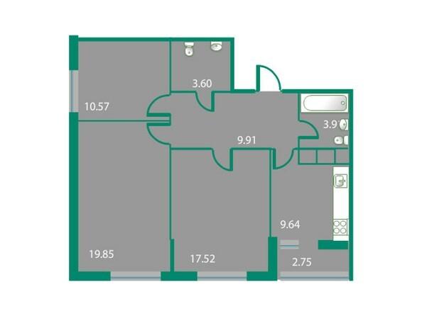 Планировки Жилой комплекс ИЗУМРУДНЫЙ БЕРЕГ, дом 1.2  - Планировка трехкомнатной квартиры 76,38 кв.м