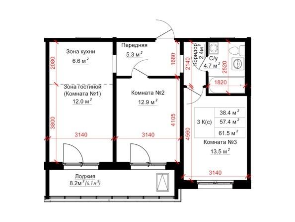 Планировки ТИТАН - Планировка трёхкомнатной квартиры 61,5 кв.м