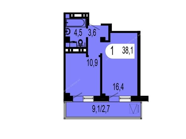 Планировки Жилой комплекс ТИХИЕ ЗОРИ, дом 1 (Красстрой) - Планировка однокомнатной квартиры 38,1 кв.м