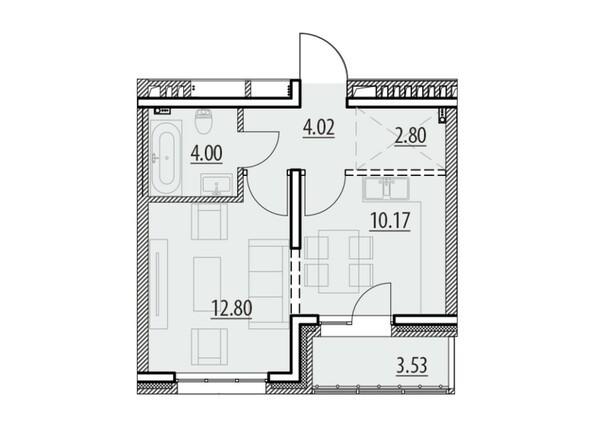Планировка 1-комн 37,23 - 37,32 м²