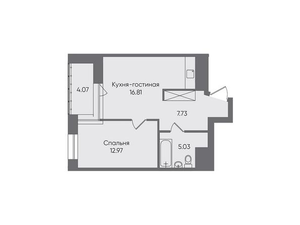 Планировки Жилой комплекс НОВЫЕ ГОРИЗОНТЫ, б/с 1 - Планировка двухкомнатной квартиры 46,61 кв.м