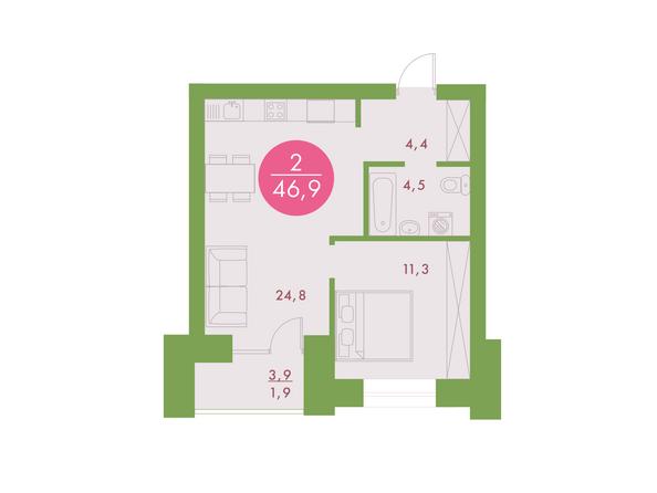 2-комнатная 46,9 кв.м