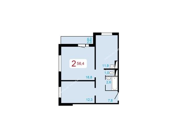 Планировки Жилой комплекс ЛЕСНОЙ МАССИВ, дом 1, стр 2 - 2-комнатная 56,4 кв.м