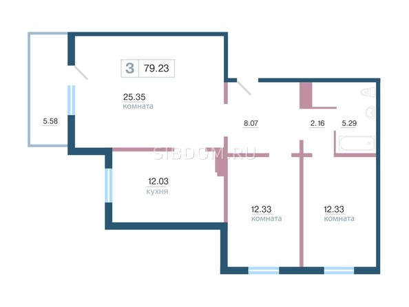 Планировка 3-комн 79,23 м²