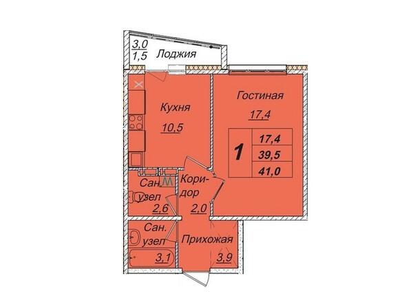 Планировки Жилой комплекс КЕМЕРОВО-СИТИ, дом 7б  - Планировка однокомнатной квартиры 41 кв.м