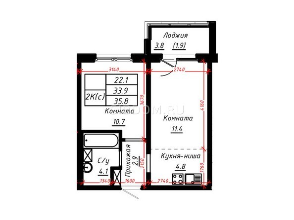2-комнатная 35,8 кв.м