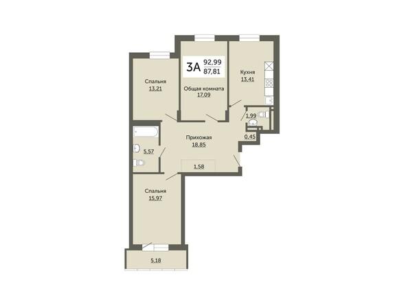 Планировки Жилой комплекс ДОМ НА НЕМИРОВИЧА, б/с 1 - Планировка трехкомнатной квартиры 87,81 кв.м