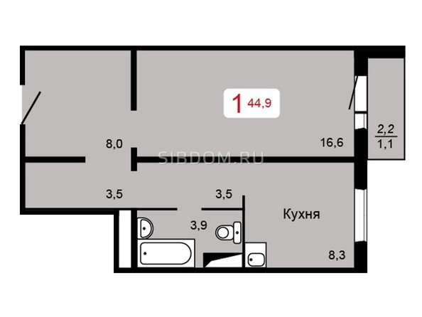 Планировка 1-комн 44,9 м²