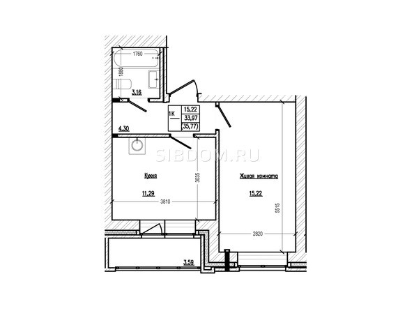 Планировка 1-комн 35,77 м²