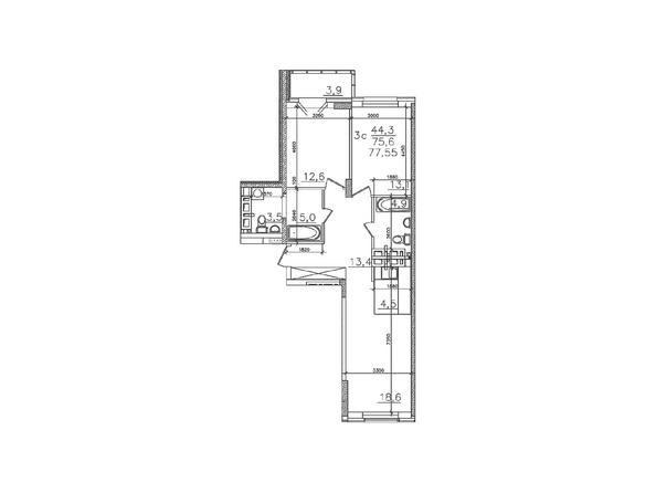 Планировки Жилой комплекс ЗОЛОТАЯ НИВА, дом 1 - Планировка трехкомнатной квартиры 75,6 кв.м