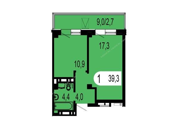 Планировки Жилой комплекс ТИХИЕ ЗОРИ, дом 1 (Красстрой) - Планировка однокомнатной квартиры 39,3 кв.м