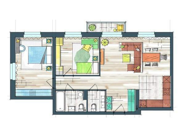 Планировки Жилой комплекс ПРЕОБРАЖЕНСКИЙ, дом 22, этап 2 - Планировка трехкомнатной квартиры 82,7 кв.м