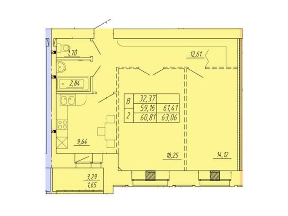 Планировка 2-комнатной квартиры 63,06 кв.м