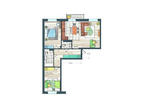 Планировки Жилой комплекс ПРЕОБРАЖЕНСКИЙ, дом 22, этап 2 - Планировка трехкомнатной квартиры 89,5 кв.м
