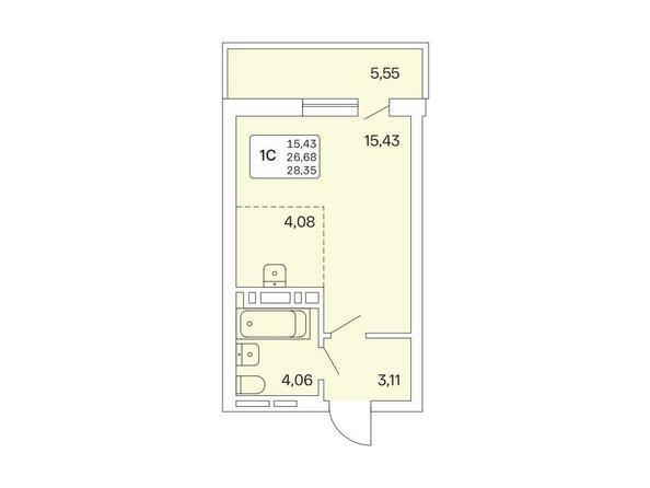 1-комнатная 28,35 кв.м