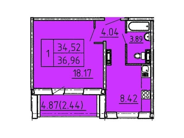 Планировки Жилой комплекс Павловский тракт, 305г - Планировка однокомнатной квартиры 36,96 кв.м.