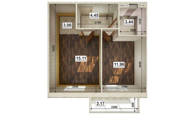 Планировки Жилой комплекс ЮГО-ЗАПАДНЫЙ, б/с 8-10 - Планировка двухкомнатной квартиры 38,84 кв.м