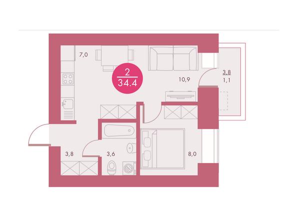 Планировки Жилой комплекс Арбан SMART (Смарт) на Шахтеров, д 2 - Планировка двухкомнатной квартиры 34,4 кв.м