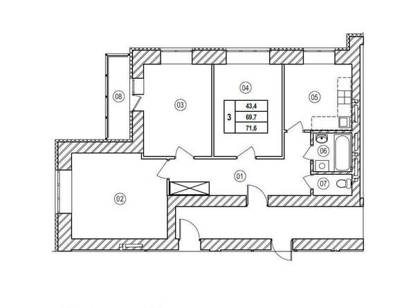 Планировки Жилой комплекс ВЕРХНИЙ БУЛЬВАР, 7 дом, б/с а,б,в - Планировка трёхкомнатной квартиры 71,6 кв.м