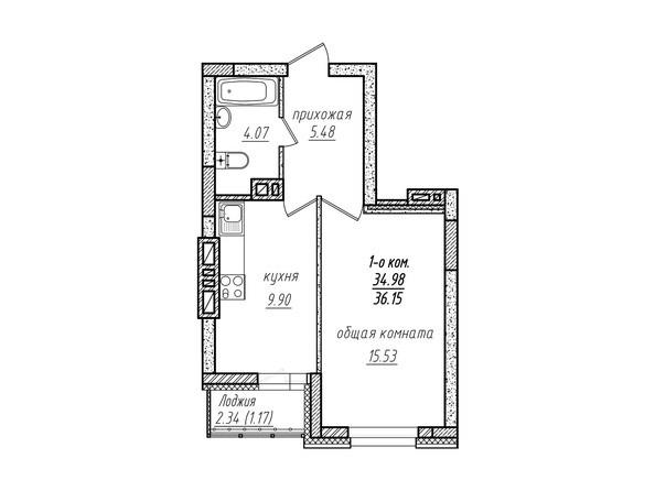 1-комнатная 36.15 кв.м