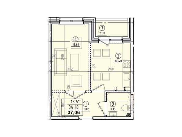 Планировки Жилой комплекс КОРИЦА, дом 2 - 1-комнатная квартира 37,06 кв.м