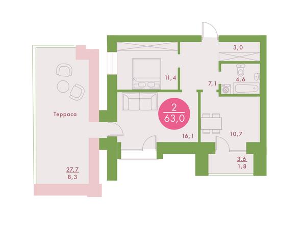 2-комнатная 63 кв.м