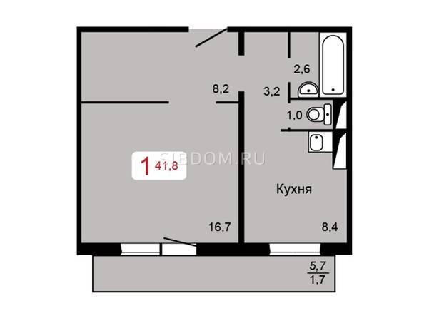 Планировка 1-комн 41,8 м²